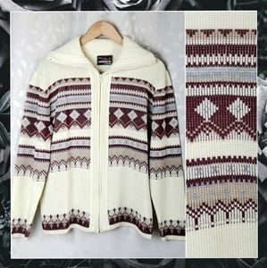 Vintage Milford Fair Isle Zip Sweater Cream Red L